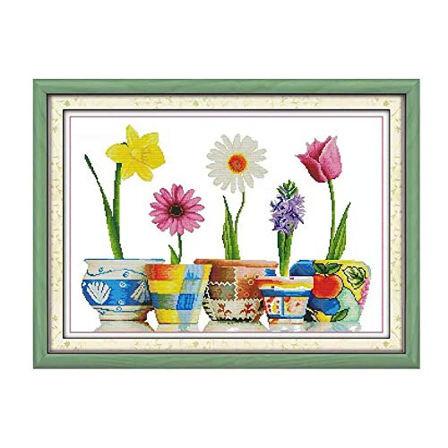 Cross Stitch Stamped Kits Cross-Stitching Pattern for Home Decor, 14CT Printed Fabric Embroidery DIY Crafts Needlepoint Kit Colorful Life of Flowers (Printed Kits,Home of Blessings)