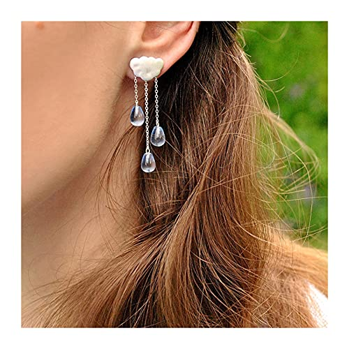 GDYJP Plata Natural Crystal Gems Jewelry Nube étnico Tassel Largo Pendientes de Gota for Mujeres (Color : A, Tamaño : One Size)