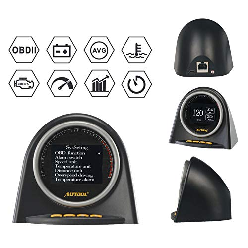 AUTOOL 2 OBD II OBD2 EUOBD HUD Head Up Display for Vehicle Speed MPH KM/h,Engine RPM,OverSpeed Warning,Mileage Measurement,Water Temperature,Voltage Support 12V OBDII J1850 Cars