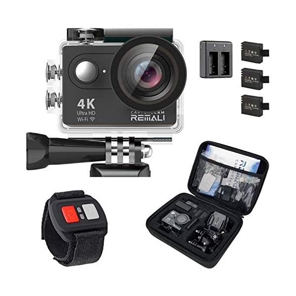 REMALI CaptureCam 4K Ultra HD and 12MP Waterproof Sports Action Camera Kit with Carrying...