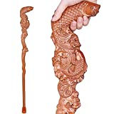 YXZQ Canes, Wood Crutch Hand Carved Walking Stick Gifts Fish Shape Fashionable Sturdy Stable, for Men And Women