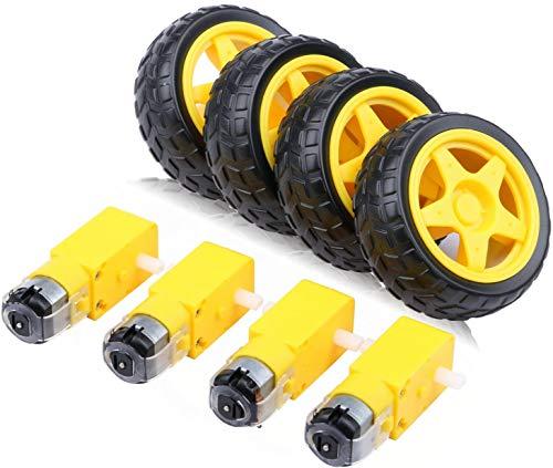 Gebildet 4pcs DC3V-6V DC Getriebemotor für Allradantrieb Spielzeugauto/Roboterkörper/Flugzeugspielzeug+4pcs Kunststoff Reifen Rad