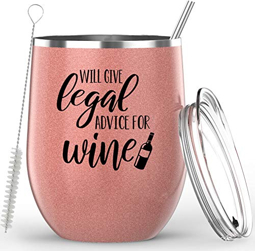 Lawyer Gifts - Will Give Legal Advice For Wine - Stainless Steel Wine or Coffee Tumbler - Paralegal Gifts, Attorney Gifts, Legal Assistant Gifts, Law Student Gifts, Lawyer Gifts for Women - 12 Ounces
