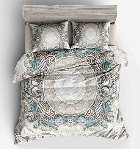 NKJSANFOI 3pcs Blue Endless Flower Bedding Duvet Cover Set Twin Full Queen King Size Family Kids Children Quilt Cover Pillowcase