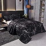 LAMEJOR Marmor-Bettwäsche-Set für Queen-Size-Betten, abstrakter Stil, 3-teilig, Tagesdecke, Bettbezug-Set, Mikrofaser, Schwarz