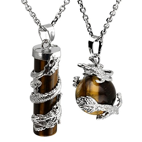 Jovivi Dragon Wrapped Tiger Eye Crystal Pendant Natural Gemstone Round Ball Cylinder Chakra Necklace Jewellery for Women Men, with Gift Box