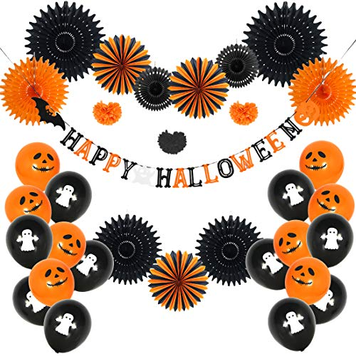 Sunbeauty Halloween Party Deco Happy Halloween slinger luchtballonnen papieren waaiers pompoms decoratie oranje/zwart Happy Halloween