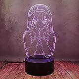 Comic Zero dos chica decoración noche luz 3D led anime lámpara de escritorio 16 cambio de color dormitorio portátil hogar noche táctil remoto lámpara de mesa bebé niño regalo de cumpleaños juguete