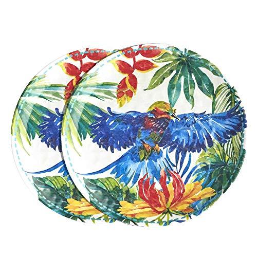 Les Jardins de la Comtesse - Set de 2 Petites Assiettes en Mélamine - Aspect Martelé - Motifs Oiseaux Tropicaux - 23cm - Bleu/Vert - Service de Table Collection Vaisselle Quasi-Incassable MelARTmine