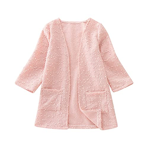 YOYORI Kids Girls Casual Cardigan Clothes - Baby Open Front Long Sleeve Knit Sweater Outwears with Pockets (Pink, 9-10 Years)