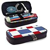 Yuanmeiju Soccer Panama Flag Leather Estuche Large Capacity Pen Holder Pouch for Gilrs Boys and Adults