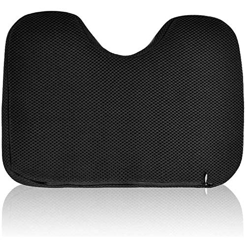 AMHDEE Rowing Machine Seat Cushion Memory Foam Washable Cover Non-Slip Bottom with Straps Fits Perfectly for Concept 2 Rowing Machine, black