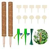 Halcyerdu 2 PiezasTótem De Fibra De Coco 50cm, 50 Plant Corbatas, 2 Goteo Automático,10 Etiquetas de Plantas, para Plantas Trepadoras De Jardín Palo de Musgo de Coco