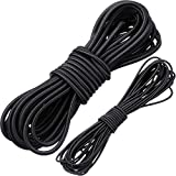 WILLBOND 1/8 Inch x 25 Feet and 1/4 Inch x 25 Feet Bungee Shock Cord, Elastic Nylon Cords Marine Kayak Heavy Stretch String Rope and Tie Down Trailer Strap (Black)