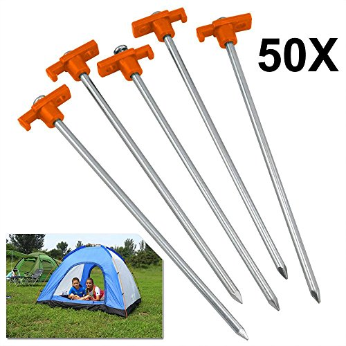 Yaheetech 50pcs Heavy Duty Metal Tent Hard Ground Standing Camping Pegs Outdoor Camping Supplies Tent & Awning Pegs