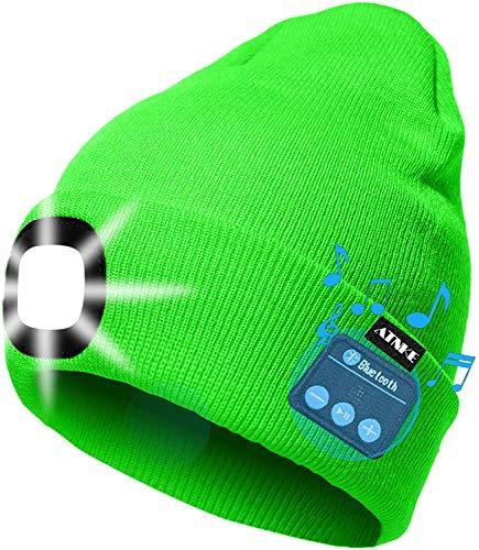 ATNKE LED beleuchtete Bluetooth-Beanie-Kappe, wiederaufladbare USB-Musikalische Laufmütze mit extrem hellem 4-LED-Licht wasserdichte Lampe für das Skifahren Wandern Camping/Fluorescent Green