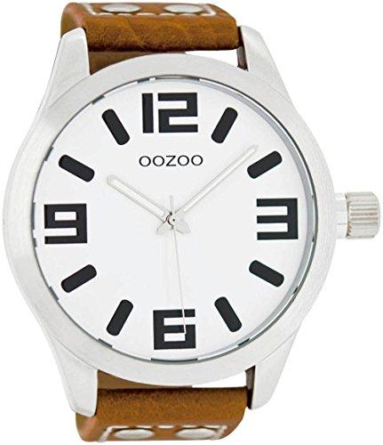 Oozoo XXL Armbanduhr Basic Line mit Lederband 52 MM Weiß/Cognac C1001