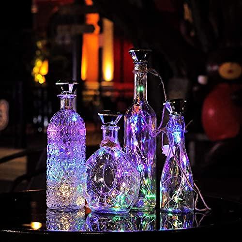 SNAWEN Paquete de 8 Luces solares de Corcho de Vino 2M 20 LED Lámpara de decoración de Fiesta de jardín de Guirnalda de Alambre de Cobre,8pcs Multicolor