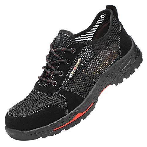 Zapatos de Seguridad para Hombre Mujer con Puntera de Acero Zapatillas de Seguridad Trabajo de Industrial y Deportiva Senderismo Trail Running Trekking Ligeros Comodos(Negro,42)