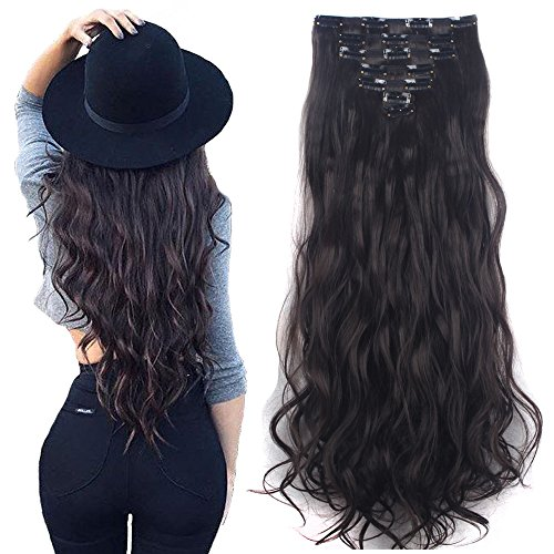 Price comparison product image 7Pcs 16 Clips 24 Inch Wavy Curly Full Head Clip in on Double Weft Hair Extensions