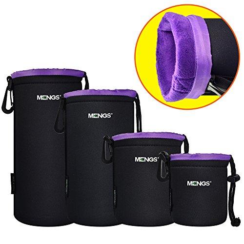 MENGS S/M/L/XL Flocking aus Wasserdicht Neopren Objektivtasche Tasche mit Gürtelschlaufe und Haken für DSLR oder Digital Kamera