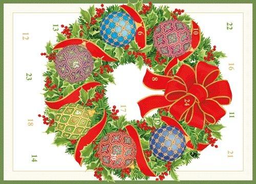 Caspari Imperial Ornaments Advent Calendar Greeting Cards – 1 Card and Envelope