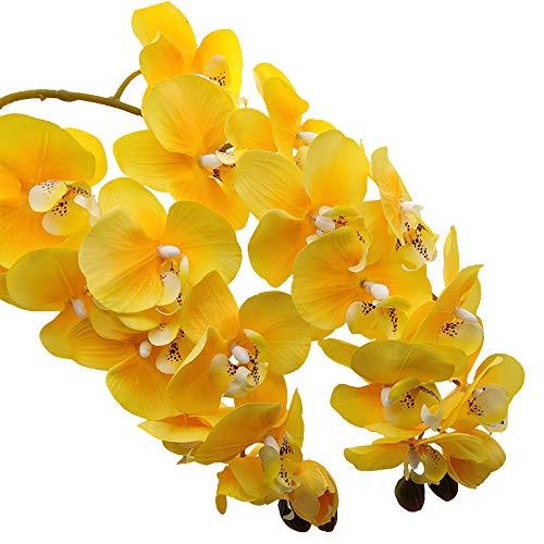 Aisamco 2 Piezas de orquídeas Artificiales Tallos Real Touch Orchid 28 Pulgadas Tall Fake Phalaenopsis Flower Artificial Flower para el Banquete de Boda en casa Decoración Floral