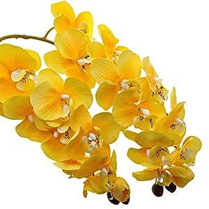 Aisamco 2 Piezas de orquídeas Artificiales Tallos Real Touch Orchid 28 Pulgadas Tall Fake Phalaenopsis Flower Artificial…