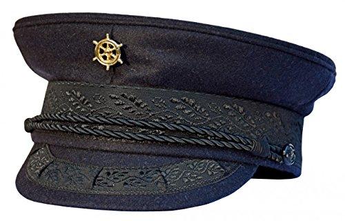 AS Bekleidungswerk modAS Original Prinz-Heinrich Mütze mit vergoldeter Anstecknadel - Marineblau, Ausführung:Steuerrad, Größe:54