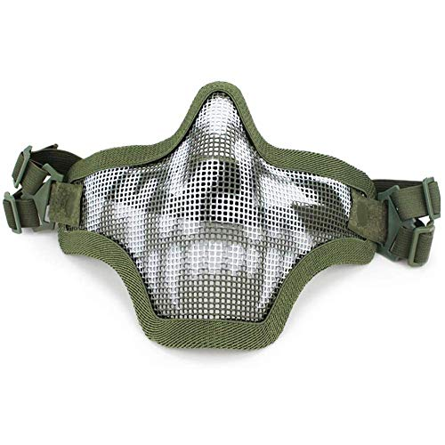Airsoft Mask Metal Steel Mesh Half Face Skull Tactical Airsoft Black Mask for Face Protection