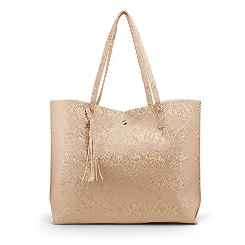 OCT17 Women Tote Bag - Tassels Faux Leather Shoulder Handbags, Fashion Ladies Purses Satchel Messenger Bags - Beige