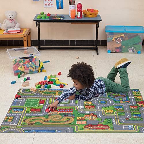 Carpet Studio Weiche Haptik abgepasster Teppich Kinderzimmer für Junge und Mädchen, Rutschfester Rücken, praktische Reinigung, Spielfreundlich, Playcity 95x133, 95x133cm