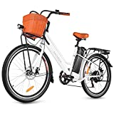 ANCHEER 26'' Electric Bicycle, City Electric Bike, Low Frame e-Bike with 36V/12.5 Ah Lithium Battery and 350W Powerful Motor, Step Through Commuter Ebike with Practical Basket for Woman Man