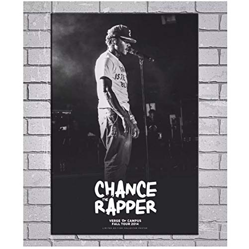 Qylfsxb Chance The Rapper - Chancelor Johnathan Bennett Hip Hop Music Black and White Art Posters Canvas Painting Wall Art Room Decor -24x32 in No Frame