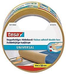 tesa Doppelseitiges Klebeband für Teppich Verlegung sowie Bastel- und Dekorationsarbeiten, 10m x 50mm [Amazon Link]