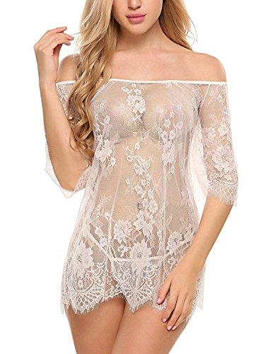 ADOME Dessous Erotik Set kalte Schulter Reizwäsche für Damen Sexy transparenter Spitzen 3/4 Ärmel Nachtwäsche Babydoll mit G-String