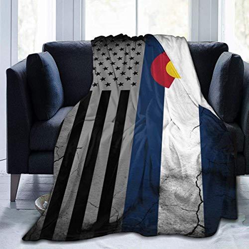 AEMAPE Manta de Franela de 50 x 60 Pulgadas con Bandera del Estado de Colorado Americano, Ligera, súper Suave y cálida, cálida, de Felpa, acogedora, de Lujo, Aire Libre
