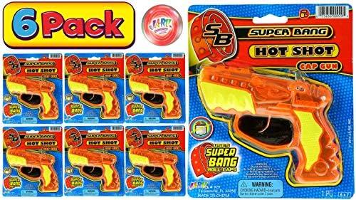 JA RU Cap Gun Super Bang Hot Shots 6 Units Bulk Quality Plastic Great Bang Party Favors Supplies product image