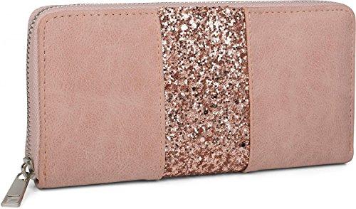 styleBREAKER Geldbörse mit umlaufendem Pailletten Streifen, Reißverschluss, Portemonnaie, Damen 02040056, Farbe:Altrose