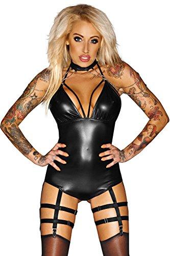 1001-kleine-Sachen at Straps-Body F109 Wetlook-Damenbody Catsuit in schwarz von Noir Handmade Dessous (L (40))