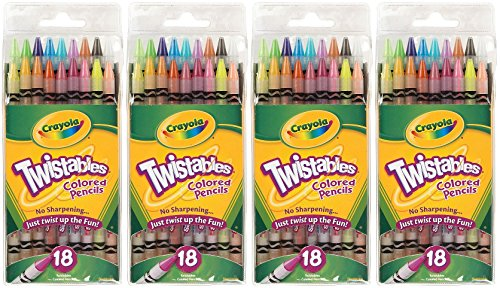 Crayola Twistables Colored Pencils, No Sharpening Needed, 18 Count (Pack of 4) Total 72 Pencils