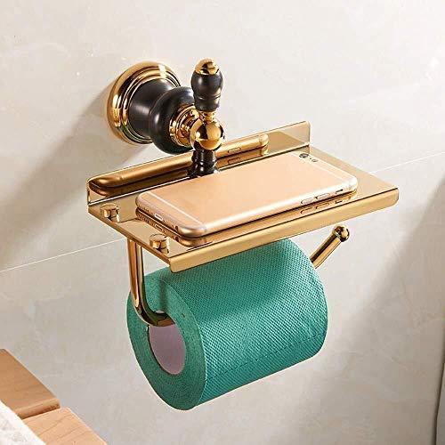 KANJJ-YU Europeo del Cobre Natural Jade Papel de teléfono móvil de oro sostenedor de la toalla de jade pendiente del metal de múltiples funciones de papel higiénico titular Solid Gold Titulares de tej