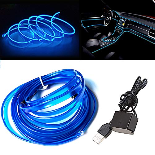 El Wire Blue with 6mm Sewing Edge, 9FT/3M USB Neon Light with Fuse Protection for Auto Car Interior Decoration