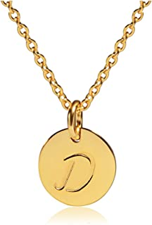 THREE KEYS JEWELRY Stainless Steel 18k Gold Tone Small Initial Necklace Alphabet 0.4