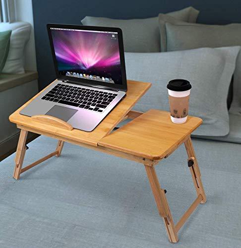 Höhenverstellbarer Laptoptisch Lapdesks Laptopständer mit Schublade klappbar Bambus Notebooktisch Betttisch Stehpult für Lesen Frühstücks Zeichentisch Esstisch für Bett Sofa Couch