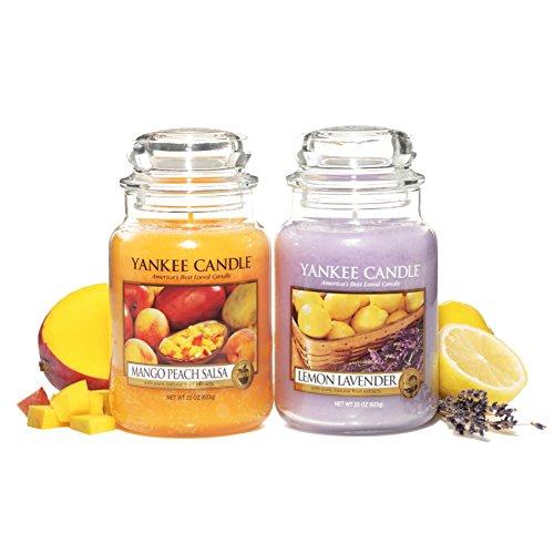YANKEE CANDLE Set di 2 Candele profumate da 623 g alla fragranza di Mango Peach Salsa (Pesca e Mango) e Lemon Lavander (Limone e Lavanda)