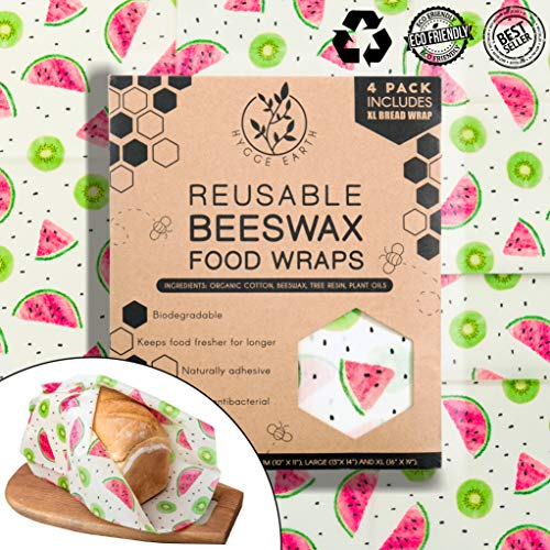 Hygge Earth - Reusable Beeswax Food Wraps   4 Pack - S, M & L (Incl XL Bread Wrap) Reusable Organic Eco Friendly Natural Storage Alternative to Plastic. Wraps with Jojoba Oil