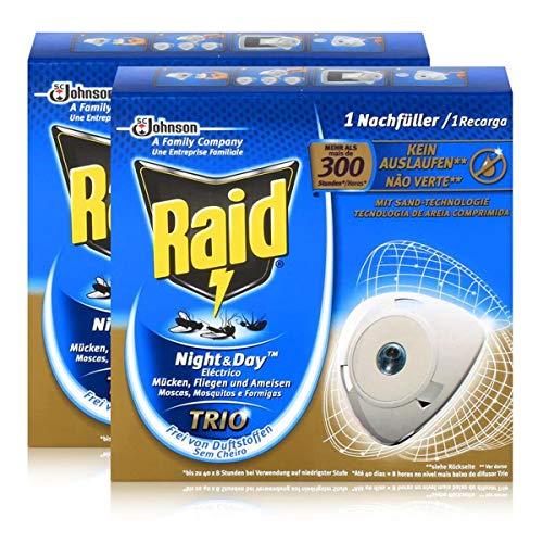 Raid x2 Night & Day Trio Insekten Nachfüller für Stecker, gegen Mücken, Fliegen & Ameisen