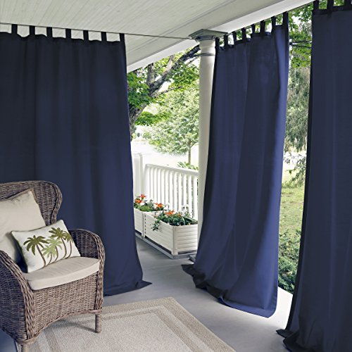"Elrene Home Fashions Indoor/Outdoor Solid UV Protectant Tab Top Single Window Curtain Panel Drape for Patio, Pergola, Porch, Deck, Lanai, and Cabana Matine Blue 52""x108"" (1 Panel)"