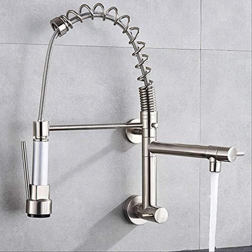 BDWS rubinetto cucina, rubinetto basso, globo, cromato, muro, rubinetteria cucina, rotazione 360, doppia funzione, rubinetteria, spray France Brushed